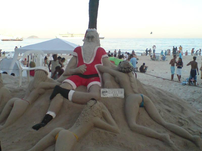 Santa on vacation in Rio De Janeiro