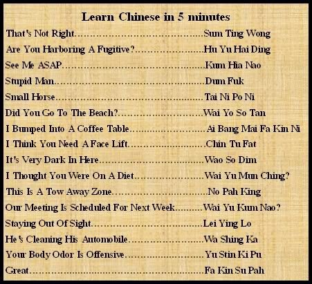 Learn Chinese in 5 minutes | Pictures | Crazy n Funny .com